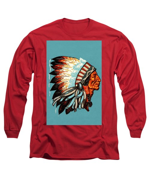 American Indian Chief Profile Long Sleeve T-Shirt