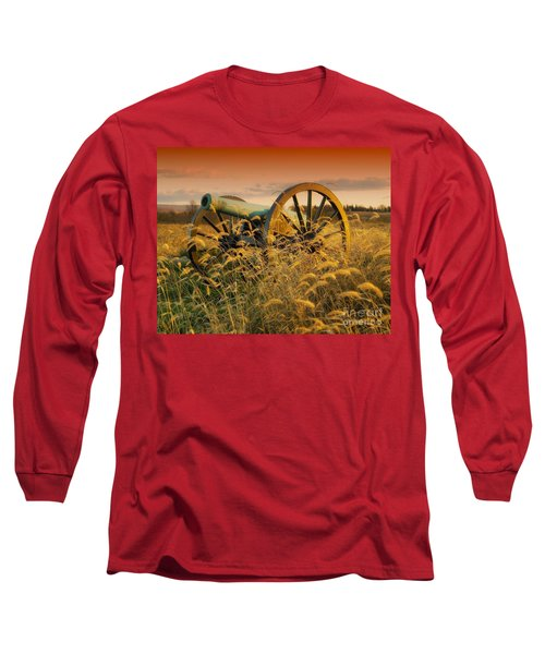 Long Sleeve T-Shirt featuring the photograph Antietam Maryland Cannon Battlefield Landscape by Paul Fearn