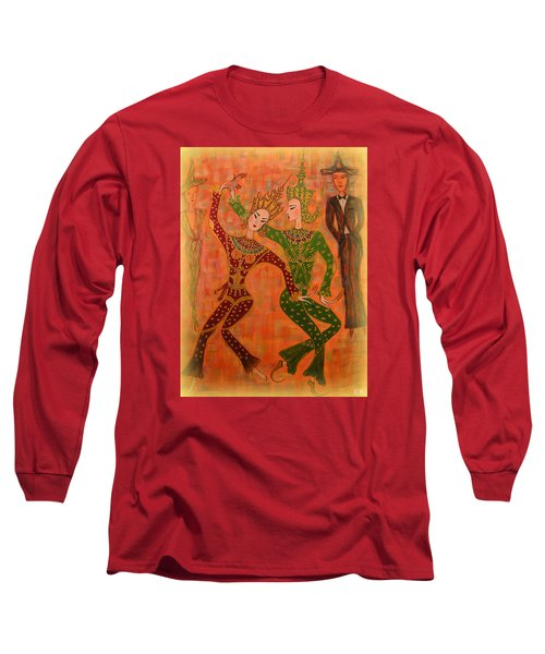 Long Sleeve T-Shirt featuring the painting Asian Dancers by Marie Schwarzer