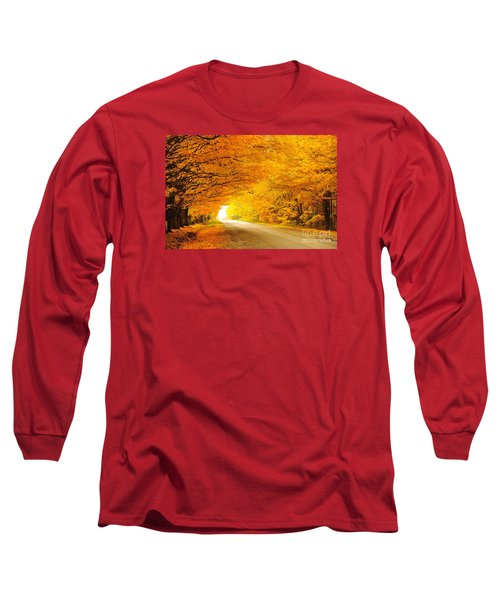 Autumn Tunnel Of Gold 8 Long Sleeve T-Shirt by Terri Gostola