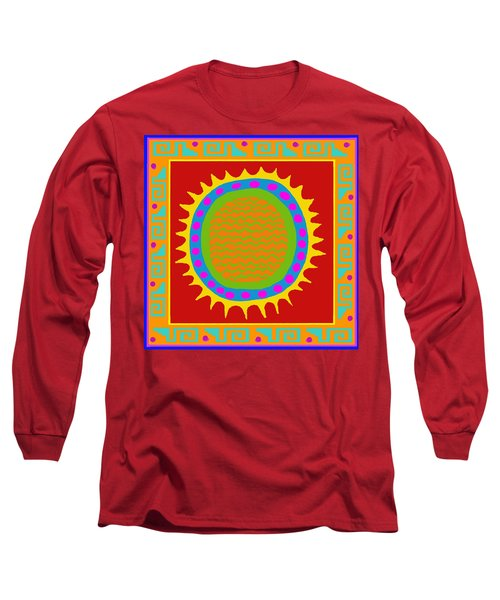 Long Sleeve T-Shirt featuring the digital art Aztec Del Sol by Vagabond Folk Art - Virginia Vivier
