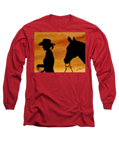 Long Sleeve T-Shirt featuring the painting Back To The Barn by Julie Brugh Riffey