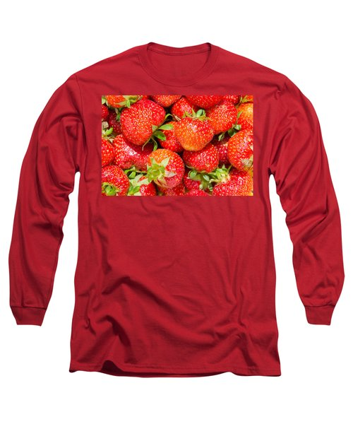 Long Sleeve T-Shirt featuring the photograph Background Of Strawberries by Kennerth and Birgitta Kullman