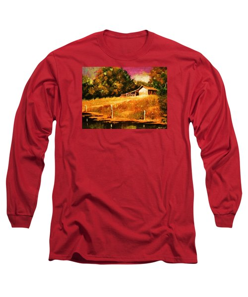 Barn Above The Creekbed Long Sleeve T-Shirt by Al Brown