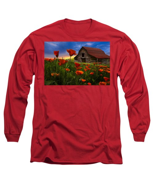 Barn In Poppies Long Sleeve T-Shirt