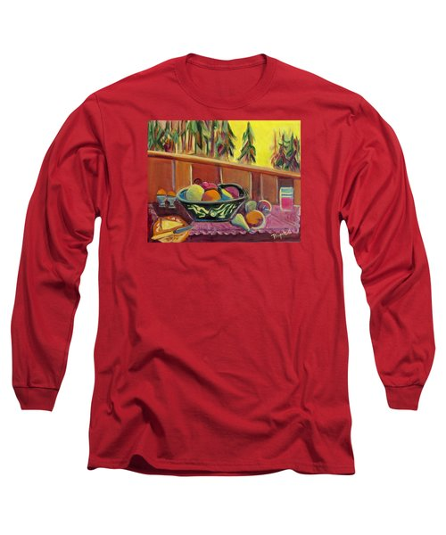 Long Sleeve T-Shirt featuring the painting Bavarian Breakfast With Strawberry Milk by Betty Pieper