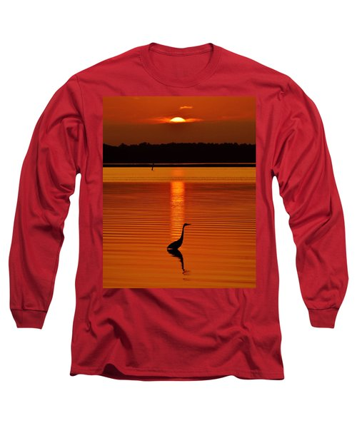 Bayside Ripples - A Heron Takes An Evening Stroll As The Sun Sets Behind The Clouds On The Bay Long Sleeve T-Shirt