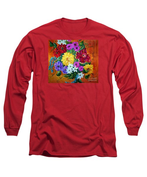 Long Sleeve T-Shirt featuring the painting Beauties In Bloom by Eloise Schneider