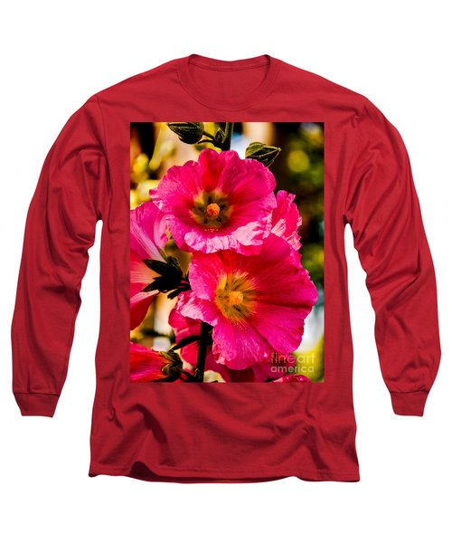 Beautiful Pink Hollyhock Long Sleeve T-Shirt