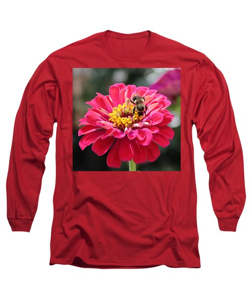Long Sleeve T-Shirt featuring the photograph Bee On Pink Flower by Cynthia Guinn