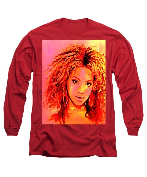 Long Sleeve T-Shirt featuring the painting Beyonce by Brian Reaves
