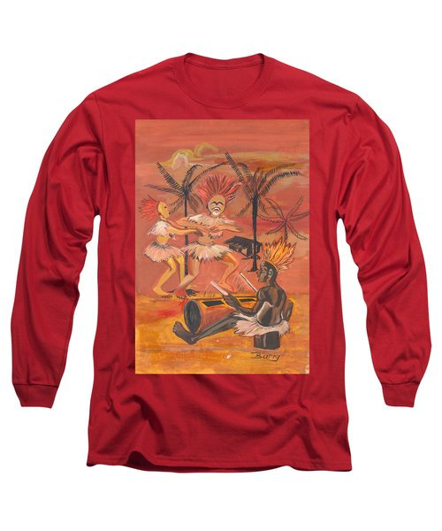 Long Sleeve T-Shirt featuring the painting Bikutsi Dance From Cameroon by Emmanuel Baliyanga