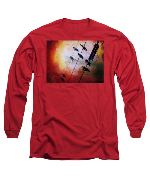 Birds On A Wire Long Sleeve T-Shirt by Micki Findlay