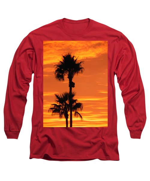 Long Sleeve T-Shirt featuring the photograph Blazing Sunset by Deb Halloran