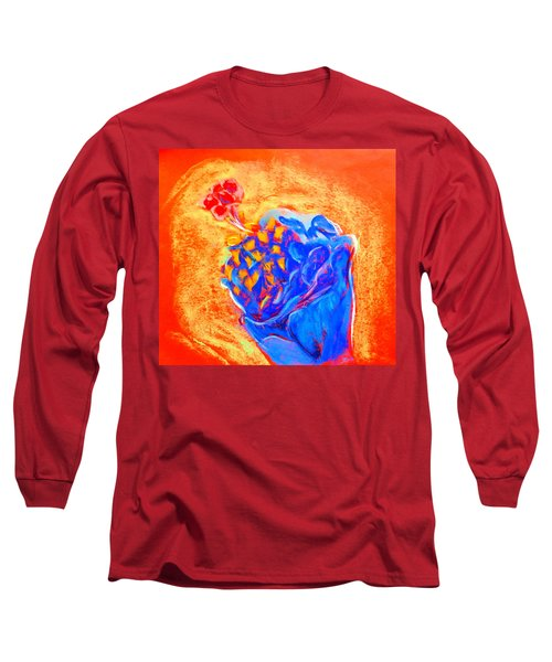 Blue Hibiscus Long Sleeve T-Shirt