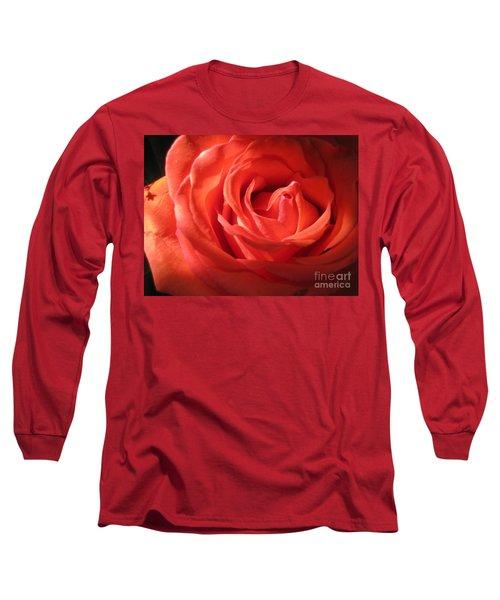 Blushing Orange Rose 1 Long Sleeve T-Shirt
