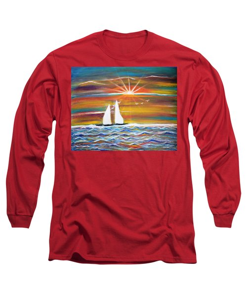 Boats At Sunset Long Sleeve T-Shirt