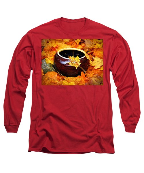 Long Sleeve T-Shirt featuring the photograph Bowl And Leaves by Rodney Lee Williams