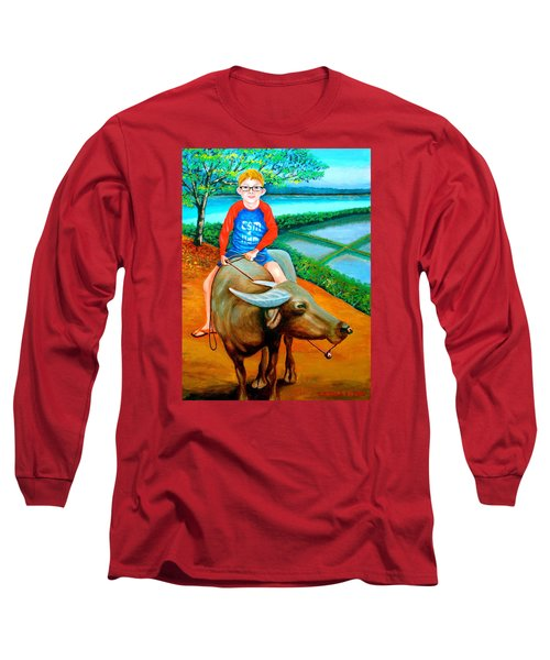 Boy Riding A Carabao Long Sleeve T-Shirt by Lorna Maza