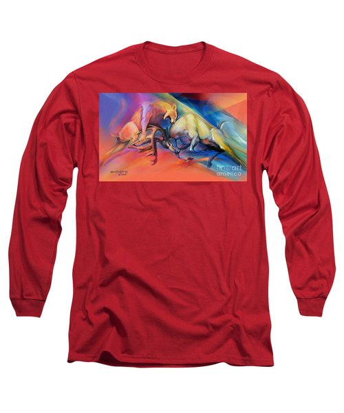 Long Sleeve T-Shirt featuring the painting Buck Off by Rob Corsetti