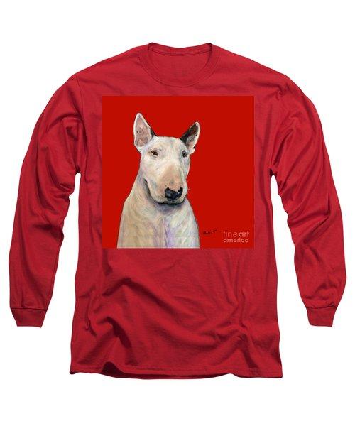 Bull Terrier On Red Long Sleeve T-Shirt