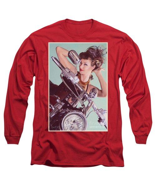 Burlesque Biker -portrait Long Sleeve T-Shirt