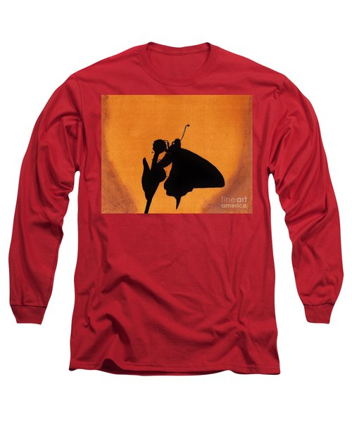 Long Sleeve T-Shirt featuring the drawing Butterfly by D Hackett