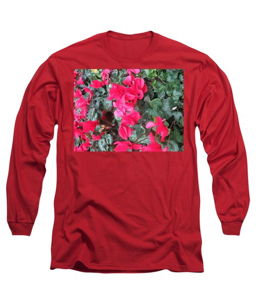 Long Sleeve T-Shirt featuring the photograph Butterfly Garden Red Exotic Flowers Las Vegas by Navin Joshi