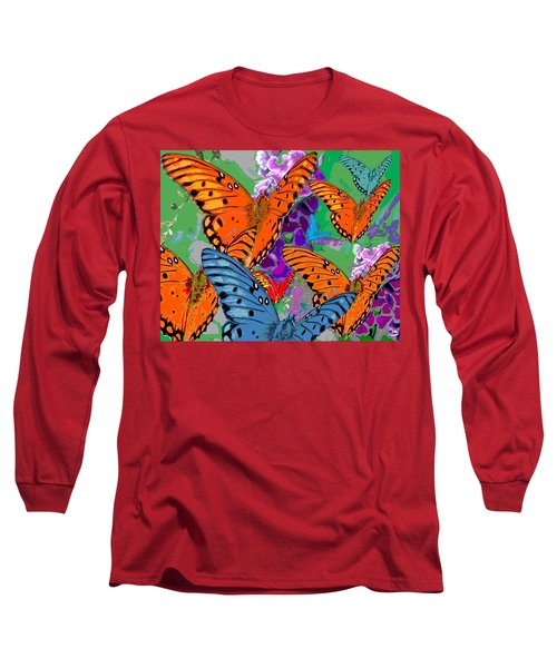 Long Sleeve T-Shirt featuring the digital art Butterfly Joy by Mary Armstrong