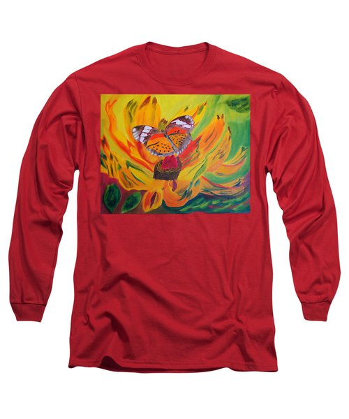 Butterfly Jungle Long Sleeve T-Shirt by Meryl Goudey