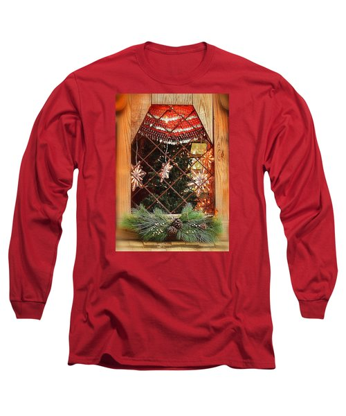 Cabin Christmas Window Long Sleeve T-Shirt by Nadalyn Larsen