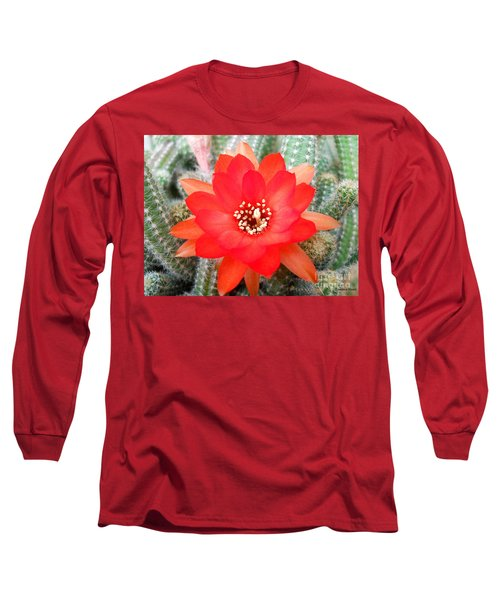 Long Sleeve T-Shirt featuring the photograph Cactus Flower by Ramona Matei