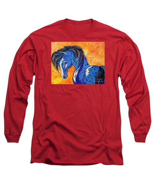 Long Sleeve T-Shirt featuring the painting Cadet The Blue Horse by Janice Rae Pariza