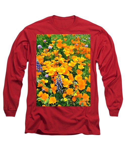 California Poppies And Betham Lupines Southern California Long Sleeve T-Shirt by Dave Welling