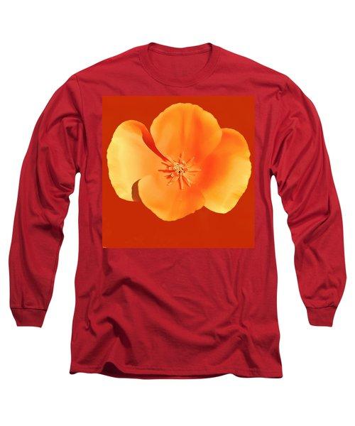 California Poppy Painting Long Sleeve T-Shirt by Bob and Nadine Johnston