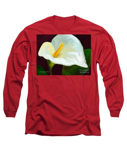 Long Sleeve T-Shirt featuring the painting Calla Lily Painting by Annie Zeno