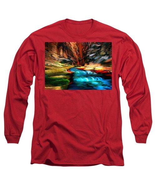 Canyon Waterfall Impressions Long Sleeve T-Shirt by Bob and Nadine Johnston