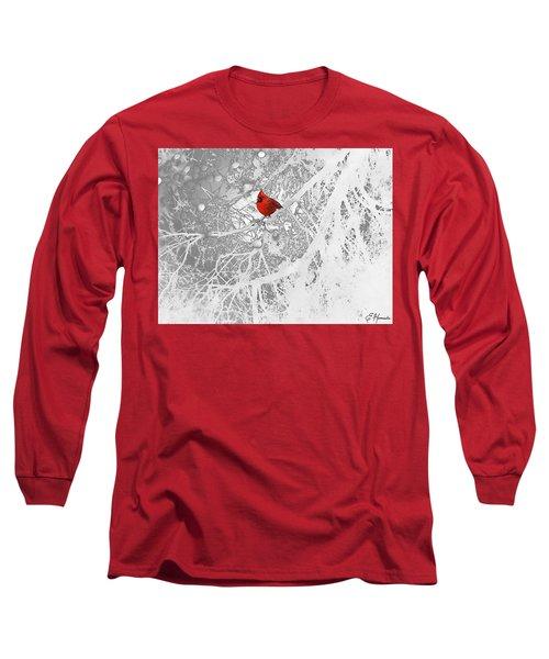 Cardinal In Winter Long Sleeve T-Shirt by Ellen Henneke