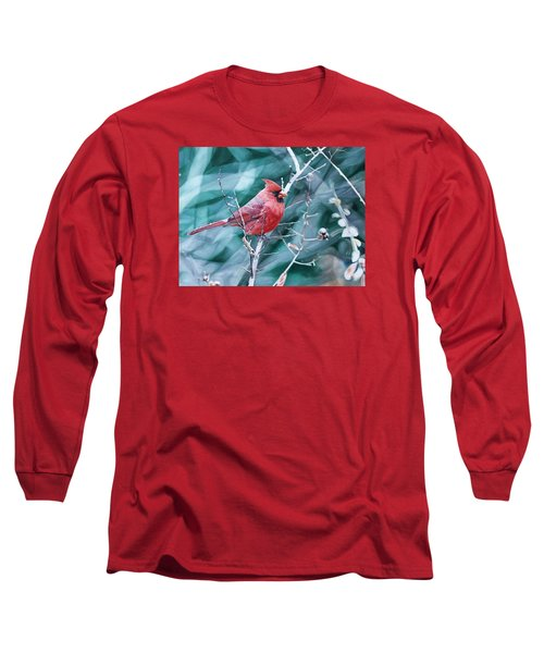 Long Sleeve T-Shirt featuring the painting Cardinal In Winter by Joshua Martin