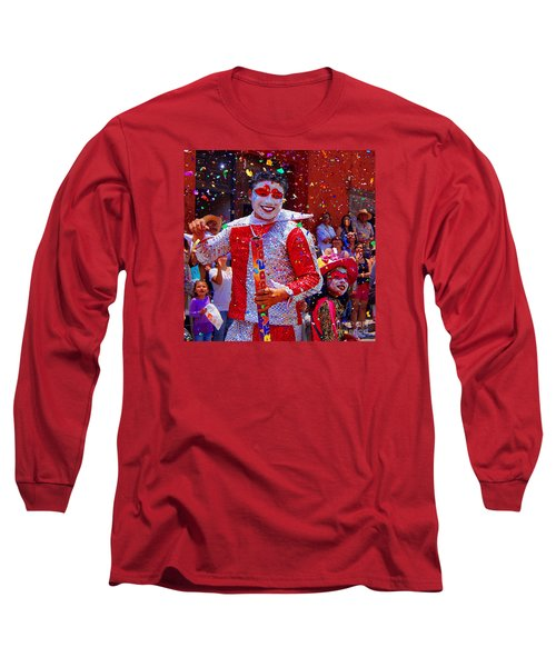 Carnival Man At The Day Of The Crazies Parade Long Sleeve T-Shirt by John  Kolenberg