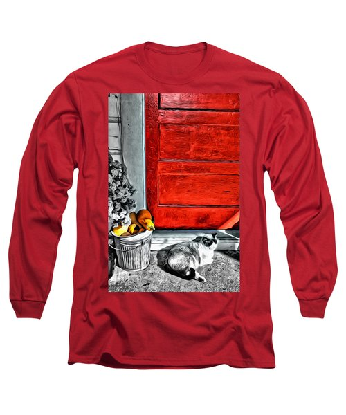 Cat By The Red Door Long Sleeve T-Shirt