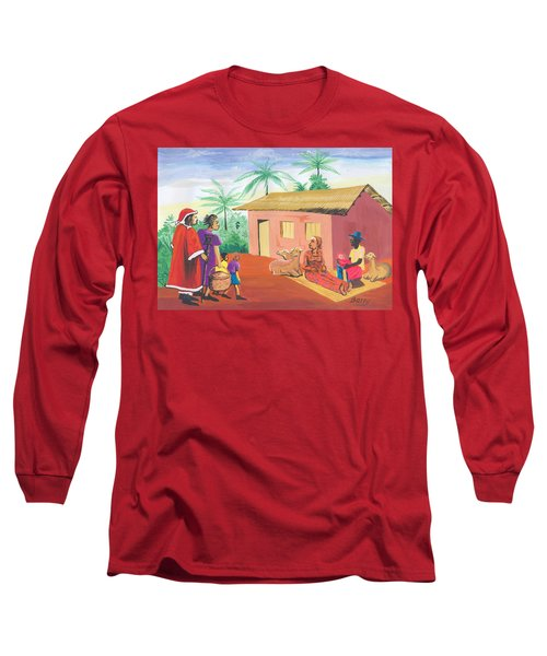 Long Sleeve T-Shirt featuring the painting Celebration Of The Nativity In Cameroon by Emmanuel Baliyanga