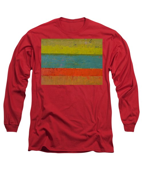 Chartreuse And Blue With Orange Long Sleeve T-Shirt
