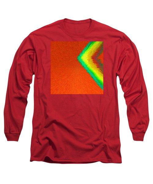 Chevron Rainbow Orange C2014 Long Sleeve T-Shirt by Paul Ashby