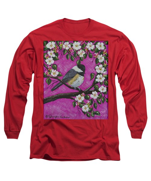 Long Sleeve T-Shirt featuring the painting Chickadee In Apple Blossoms by Jennifer Lake