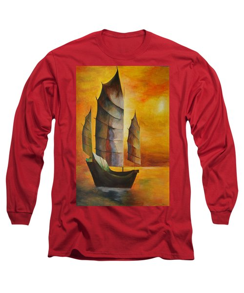 Chinese Junk In Ochre Long Sleeve T-Shirt
