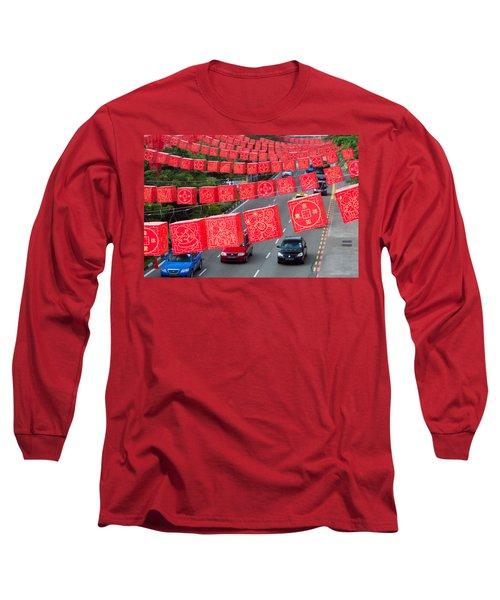 Chinese Lanterns Hanging During Chinese Long Sleeve T-Shirt