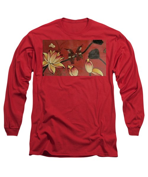 Chinese Red Lacquer Chest Detail Long Sleeve T-Shirt