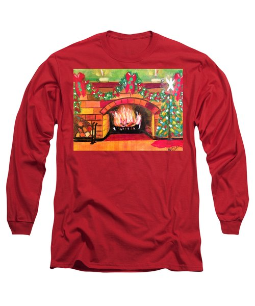 Christmas At The Cabin Long Sleeve T-Shirt by Renee Michelle Wenker
