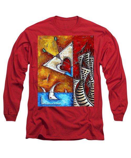 Coastal Martini Cityscape Contemporary Art Original Painting Heart Of A Martini By Madart Long Sleeve T-Shirt
